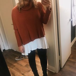 Sweaters - Rust turtleneck open back sweater